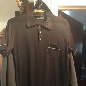 Men's shiny black shirt sleeve shirt